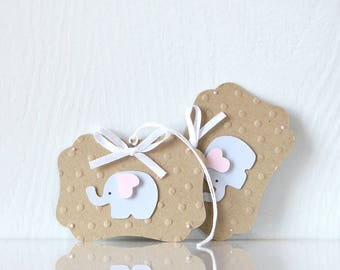Kraft Elephant Gift Tags: patterned tags, present, hanging tags, glittered, sparkles, twinkle twinkle, stripes, pink and white - LRD035TG