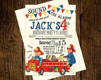 Fire Truck Birthday Party Invitations Personalized Custom Printed Set of 12 Party Invites Vintage Ecru Fire Engine Firefighter Fireman