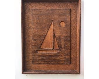 Vintage Mid Century Modern Nautical Art Vintage Wood Sailboat Vintage Wood Nautical Art Minimal Wood Cut Nautical Wood Art