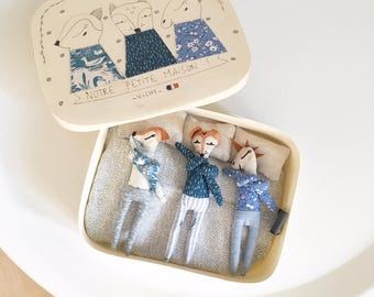 Our little home 3 figurines in their wooden house