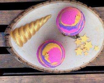 Unicorn Bath Bomb 8oz Handmade Lovespell Bath Fizzy Colorful Bath Art Purple Pink Yellow Lush Inspired Fun Gift for Her Kids Bath Bomb