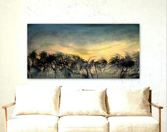 """Tropical Sunset Painting Palm Trees Landscape - Original Canvas Art - Ready to Hang 24x48"""""""