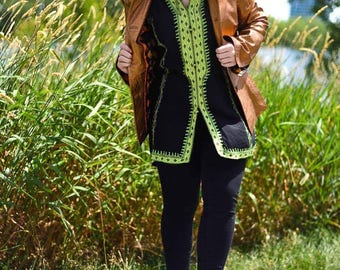 Gorgeous Vintage Black Tunic with Green Details from the 1970's