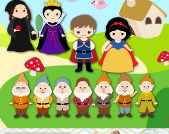 Snow White Digital Clip Art, Snow White Clipart, Snow White Princess Clipart, Seven Dwarves Clip Art, Prince Charming Clip Art, 0195