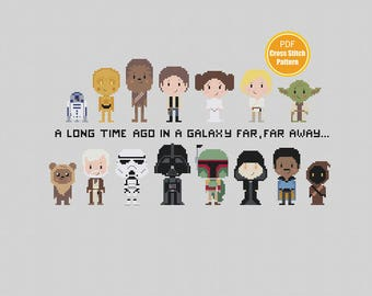 Star Wars Cross stitch Pattern - PDF file Instant Download - Darth Vader - Han Solo - Princess Leia Crossstitch - Disney Cross stitch