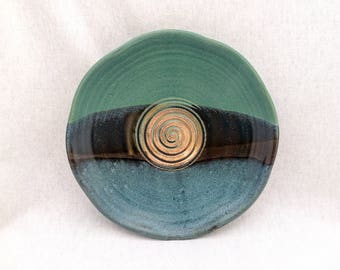 Pottery garlic grater dish, garlic bowl, green and black glaze, crimped wavy rim- for bread dipping in garlic + oil, foodie gift
