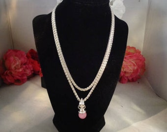 """Reduced -Vintage Joan Rivers Classics  36"""" Silvertone or Silverplate Chain with a 1.5"""" Pink Rose Pendant Signed w/Joan Rivers Tag."""
