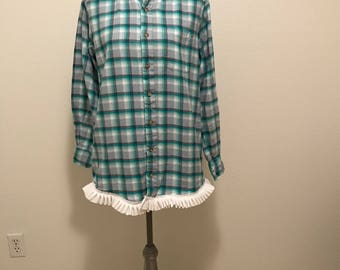Upcycled flannel shirt with white trim