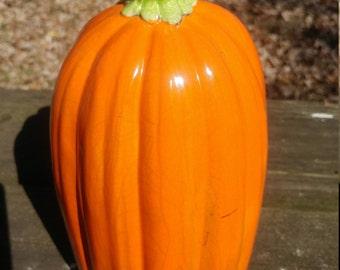 Stoneware pumpkin, raku fired