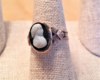 10K Rose Gold Cameo Ring Set in Onyx Stone