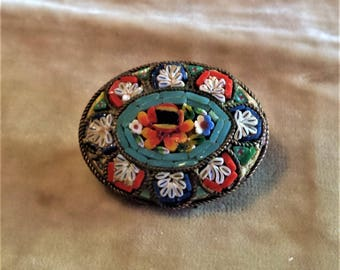 Gold Filled, Italian Mini Floral Mosaic Brooch