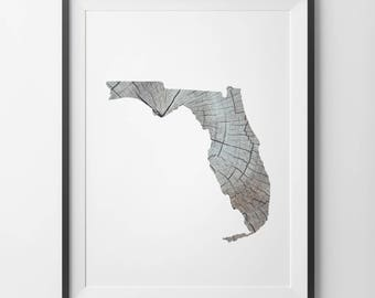 Florida Print, Florida Wall Art, Florida Printable, Florida State Print, Rustic Wood Print, Florida Wood Print, Florida Art, Florida Map