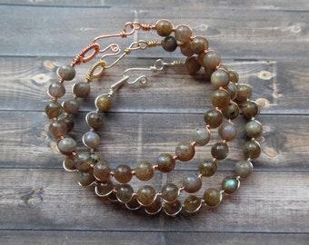 Labradorite Bracelet, Gemstone Wrap Bracelet, Labradorite Jewelry, Cuff Bracelet, Silver Gold Copper Labradorite Bracelet, Healing Crystal