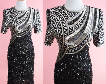 NWT Lawrence Kazar Art Deco Cocktail Dress // 1980s Party Dress, Vintage 80s Prom, Black & Silver Sequins, Deadstock, Women Size Small