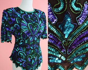 NWT Lawrence Kazar Beaded Top // Vintage 80s 90s Party Shirt, 1980s Cocktail, Art Deco, Black, Purple, Green, Women Size Small