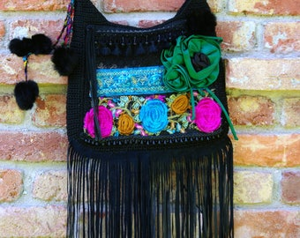 Crossbody Gypsy Fringe Bag, Boho Fringe Bag, Boho Gypsy Bag, Bohemian Purse, Hippie Bag, Festival Bag, Gift For Her, Art Bag, Bohemian Bag