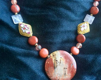 Handmade Beaded Necklace with Brick-Colored Beads and Stones