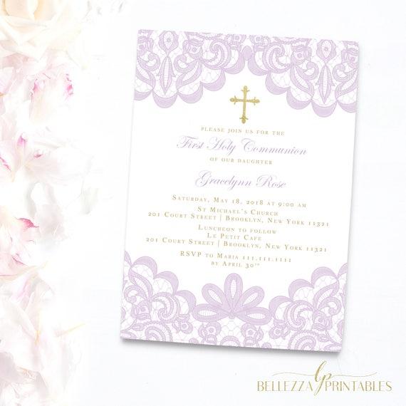 Lace First Communion Invitation Lilac Invitations Girl Invites