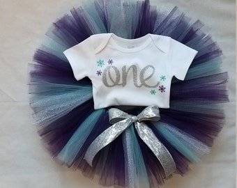 Winter ONEderland Birthday Outfit, Winter onederland outfit, Snowflake Birthday, Purple Teal and Silver, Winter 1st Birthday