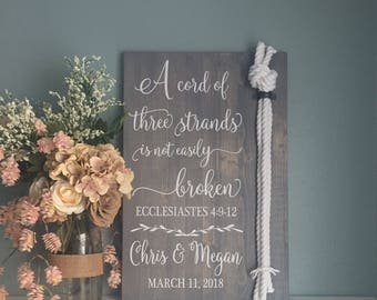 Cord of Three Strands Sign, Ecclesiastes 4:9-12, Alternative Unity Candle, Unity Ceremony Sign, Wedding Gift