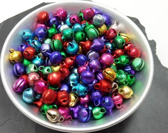 6 mm bells multicolored, genuine large round Bell, bells, great holiday Christmas charms, Metal