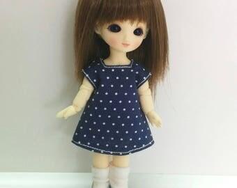 Dark Blue Polka Dot Dress for Brownie/Obitsu11cm