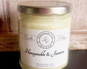 Organic Soy Candle- Honeysuckle Jasmine- Essential Oil Candle- Vegan Candle-Scented Candles- Eco-Friendly- Valentine's Day Gifts