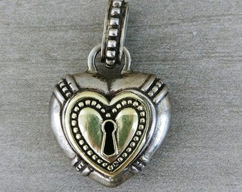 """Adorable Sterling Silver and 18k Gold """"Key to My Heart"""" Lock-Style Pendant With Intricate Band Designs and Small Heart on Back, Gold Heart"""