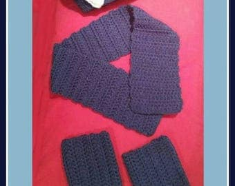 Set beret scarf and gaiters crochet - leggings - baby up to 1 year - girl or mixed - birth gift