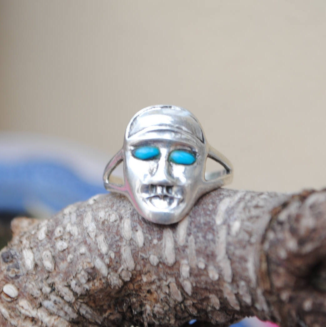 Bijoux American Vintage : Face silver ring vintage native american turquoise