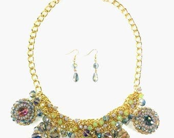 Miss Daisy - Purple Statement Necklace & Earring Set