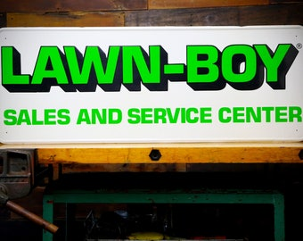 """Large Embossed LAWN - BOY Green Tin Lawn Mower Dealer Advertising Sign 40"""" x 15"""" Sales and Service Center Wall Art Home Decor Garage Shop"""