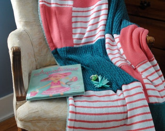 Kids Blanket,quilt,baby,decor,toddler,fleece lined,coral,teal,blue,orange,upcycled,recycled,sweater,wool,toddler bedding,warm,super soft