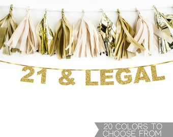 21 And Legal Banner, 21 & Legal Banner, 21st Birthday Banner, Twenty One Banner, Birthday Banner, Happy Birthday, Finally Legal