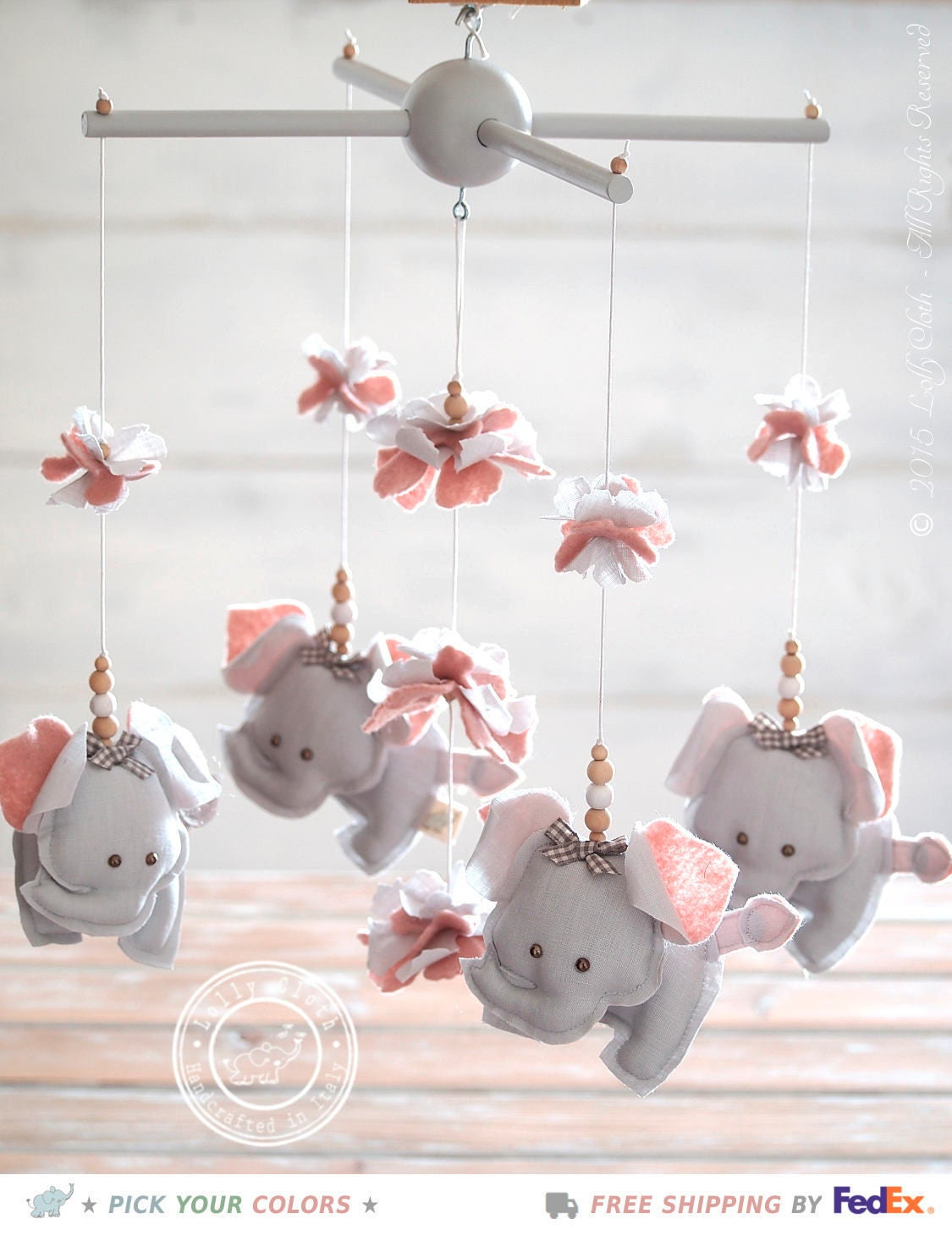 Grey Amp Pink Elephant Nursery Mobile Girlgift For Girlelephant