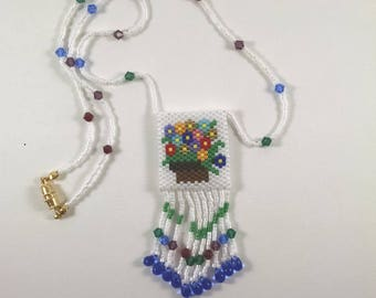 Beaded Flower Basket Peyote Pouch Necklace, Small Amulet Bag, Native American Art Style Jewelry, Multicolor Flower Design, Fringed Necklace