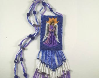 Beaded Angel Peyote Pouch Necklace, Blue and Purple Angel Pattern, Native American Art Style Medicine Bag, Amulet Pouch, Christmas Jewelry