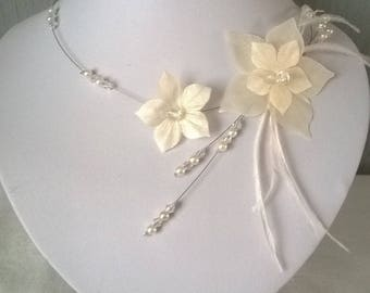 Bridal set wedding necklace earrings Silver 925 flower silk feathers set white or Ivory Pearl Jewelry