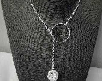 Necklace chain ring and metal ball filigree openwork silver night, holidays without closure