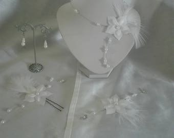 bridal set necklace bracelet jewelry set wedding Silk Flower Earrings white pic (or ivory) feather evening parties