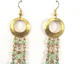 Handmade Chandelier Earrings~Gold/Green~Swarovski Crystals