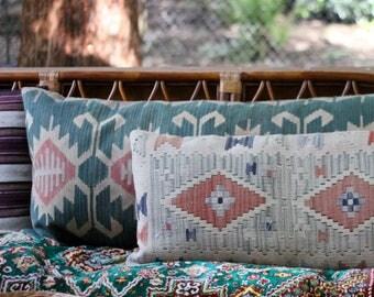 """Large Kilim Floor Pillow / 34"""" x 17"""" Lumbar Pillow / Antique Kilim Rug Pillow / Bohemian Decor"""