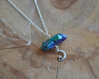 Titanium Aura Crystal Moon & Star // Sterling Silver Chain // Crystal Energy // Dainty // Nickel Free // Humor // Relaxation // Go with Flow