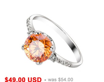 Peach Engagement Ring Simple Engagement Ring Solitaire Ring Peach Ring Champagne Ring Champagne Engagement Ring Promise Ring for Her CZ Ring
