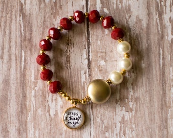 Divine Mercy Rosary Bracelet, Chaplet of Divine Mercy Stretch Rosary, Jesus I Trust in You Bracelet, Catholic Charm Bracelet, 602030