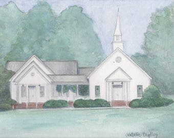 Watercolor Painting of Whitewater Baptist Church in Oglethorpe, GA - 8x10 print