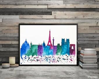 Original Paris Skyline, Watercolor painting Travel Illustration, Architecture Illustrator Print, Wall art Home Decor, Handmade Holiday gift