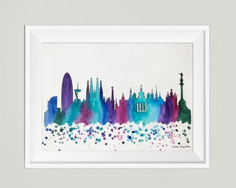 Barcelona Skyline, Original Watercolor Painting, Travel Illustration Print, Illustrator, Modern Wall art, Home Decor, Handmade Holiday Gift
