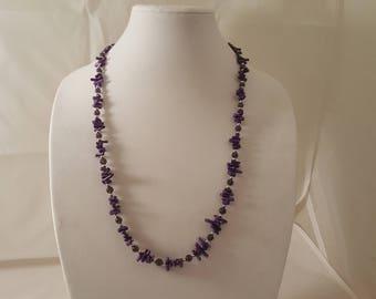 Purple Coral Long Necklace - Purple Necklace - Coral Necklace - Purple Crystal Necklace - Crystal Necklace - Sea Coral Necklace - Purple