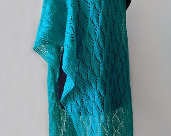 Knitted lace scarf, lace wrap, mohair scarf, christmas gift, women's scarf, emerald wrap, sea wave scarf, winter scarf, turquoise scarf